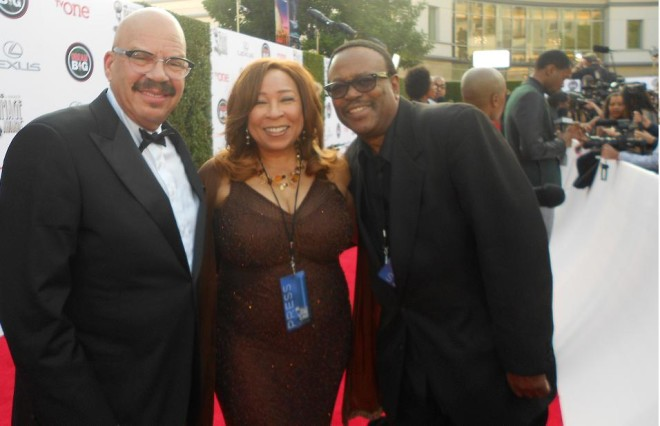 Tom Joyner, Tanya Hart, and Lee Bailey at the 45th Image Awards
